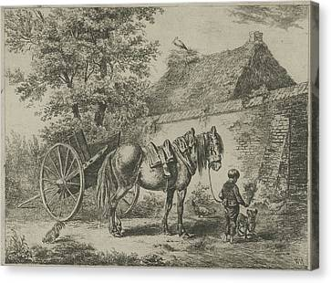 Boy With Horse And Dog, Print Maker Christiaan Wilhelmus Canvas Print by Christiaan Wilhelmus Moorrees