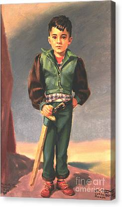 Boy With Paper Sword Canvas Print by Art By Tolpo Collection