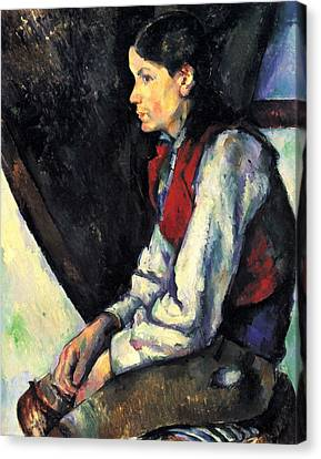 Boy With Red Vest By Cezanne Canvas Print by John Peter