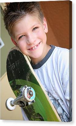 Boy With Skateboard Canvas Print by Colleen Cahill
