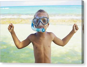 Boy With Snorkel Canvas Print by Kicka Witte