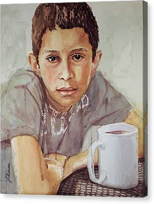 Boy With White Cup Canvas Print by Jeff Chase