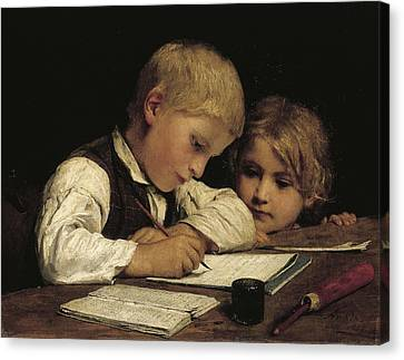 Lessons Canvas Print - Boy Writing With His Sister, 1875 Oil On Canvas by Albert Anker