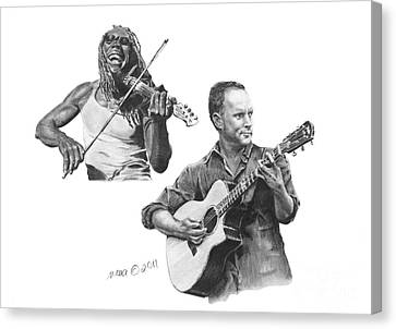 Canvas Print featuring the drawing Boyd And Dave by Marianne NANA Betts