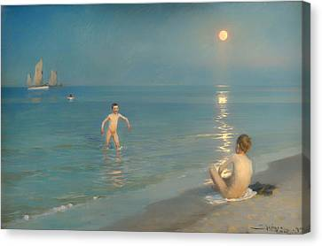 Boys Bathing At Skagen Canvas Print by Mountain Dreams