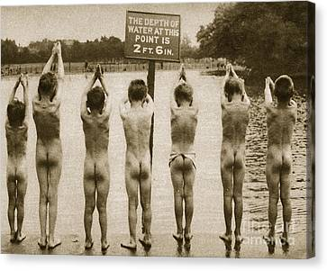 Swimmers Canvas Print - Boys Bathing In The Park Clapham by English Photographer