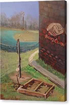 Boys Club Series-baseball Tetherball Box Hockey Canvas Print by Dale Smith