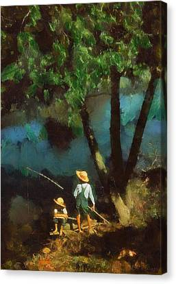 Boys Fishing In A Bayou Canvas Print