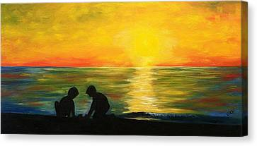 Boys In The Sunset Canvas Print