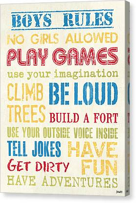 Boys Rules Canvas Print by Debbie DeWitt