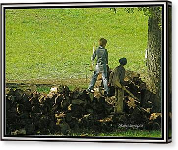 Canvas Print featuring the photograph Boys Will Be Boys by Kathy Barney