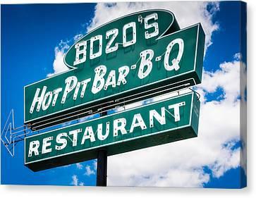 Barbecue Canvas Print - Bozo's Hot Pit Bar-b-q Sign by Jon Woodhams