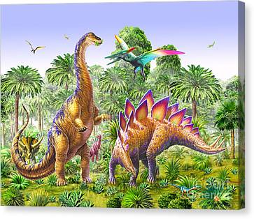 Feeding Canvas Print - Brachiosaur And Stegasaur by Adrian Chesterman