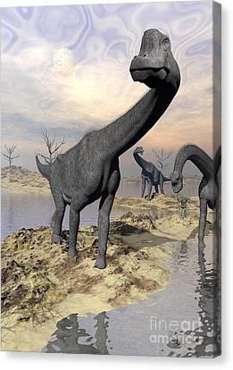 Brachiosaurus Dinosaurs Near Water Canvas Print by Elena Duvernay