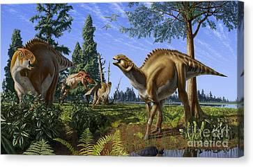 Wetland Canvas Print - Brachylophosaurus Canadensis by Julius Csotonyi