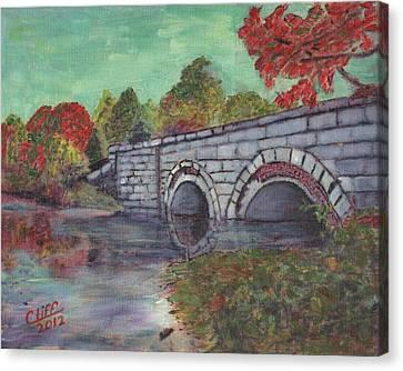 Brackett Reservoir Railroad Bridge Canvas Print by Cliff Wilson