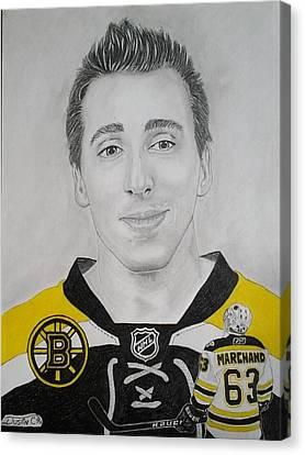 Boston Bruins Canvas Print - Brad Marchand by Dustin Caplette
