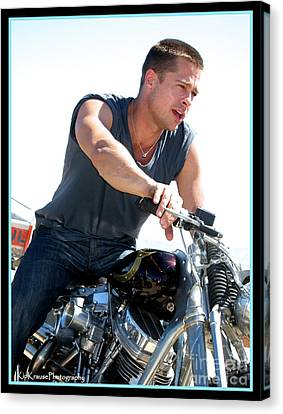Brad Pitt On His Harley Canvas Print