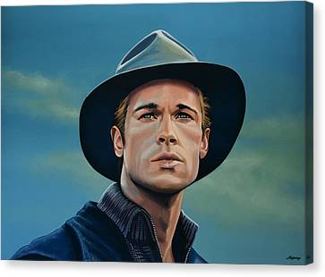 Hat Canvas Print - Brad Pitt Painting by Paul Meijering