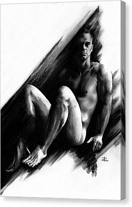 Canvas Print featuring the drawing Bradley by Paul Davenport