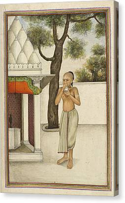 Brahmin Blowing Conch Shell Canvas Print by British Library