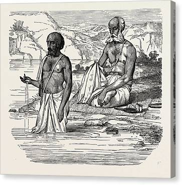 Brahmins Worshipping The Ganges Canvas Print