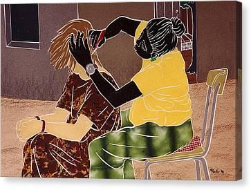 Goree Canvas Print - Braiding Hair by Martha Rucker