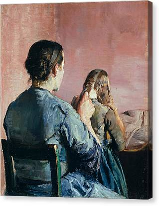 Woman Combing Her Hair Canvas Print - Braiding Her Hair by Christian Krohg