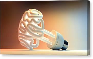 Brain Flourescent Light Bulb Canvas Print
