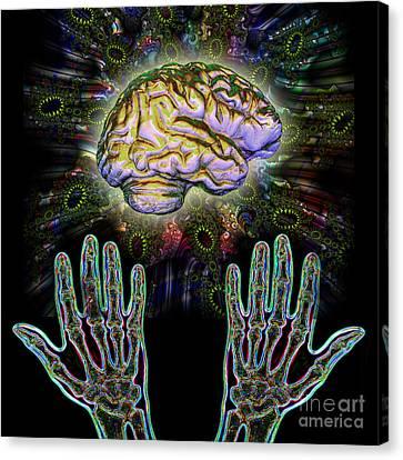 Brain Hands Energy Canvas Print by Dennis D. Potokar