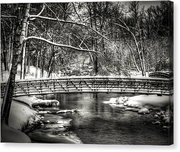 Brainards Bridge After A Snow Storm 3 Canvas Print by Thomas Young