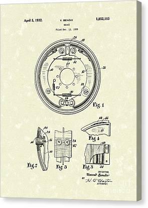 Brake 1932 Patent Art Canvas Print by Prior Art Design