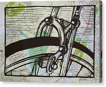 Brake On Map Canvas Print by William Cauthern