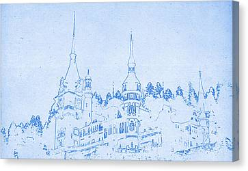 Bran Castle In Transylvania In Romania - Blueprint Drawing Canvas Print by MotionAge Designs
