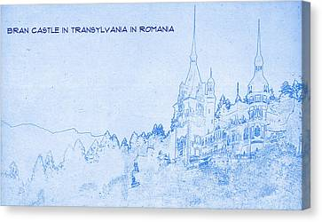 Bran Castle In Transylvania In Romania - Blueprint Canvas Print by MotionAge Designs