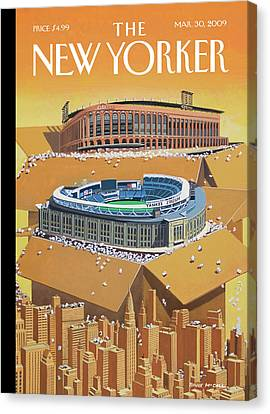 Mets Canvas Print - Brand New Yankee's And Met's Stadiums Coming by Bruce McCall