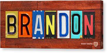 Brandon License Plate Name Sign Fun Kid Room Decor Canvas Print by Design Turnpike