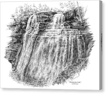 Canvas Print featuring the drawing Brandywine Falls - Cuyahoga Valley National Park by Kelli Swan