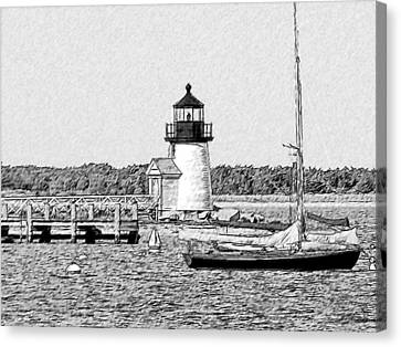 Brant Point Sailboat Canvas Print by Greg Lindberg
