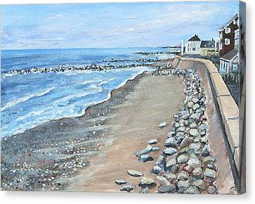Brant Rock At High Tide Canvas Print by Rita Brown