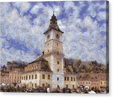 Romania Canvas Print - Brasov City Hall by Jeffrey Kolker