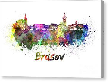 Brasov Skyline In Watercolor Canvas Print by Pablo Romero