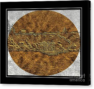 Brass Etching - Oval - Fishing Stage Canvas Print