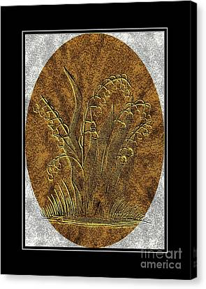 Brass Etching - Oval - Lily Of The Valley Canvas Print