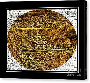 Brass Etching - Oval - Moving House By Water Canvas Print
