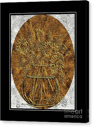 Brass Etching - Oval - Sunflowers Canvas Print