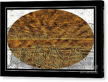 Brass Etching - Oval - Lobster Pots Canvas Print