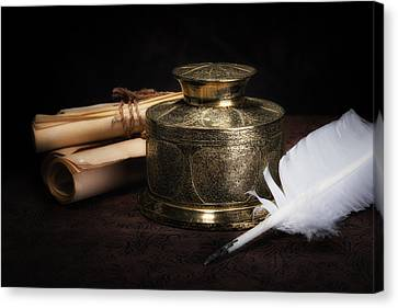 Library Canvas Print - Brass Inkwell Still Life by Tom Mc Nemar
