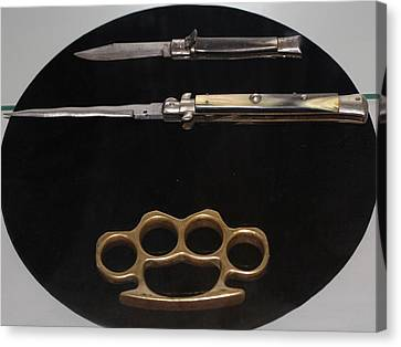 Brass Knuckles And Knives Canvas Print by Steven Parker