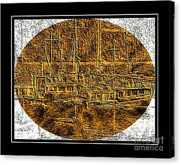 Black Tie Canvas Print - Brass-type Etching - Oval - Boats Tied Up To The Wharf by Barbara Griffin